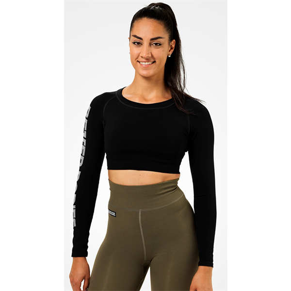 Image of Better Bodies Bowery Cropped Longsleeve Black
