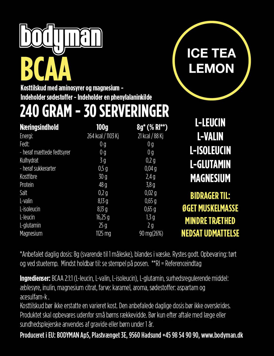 Bodyman BCAA Ice Tea Lemon 240 Gram fås hos Bodyman