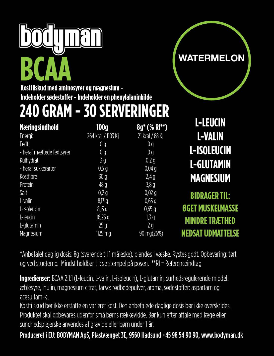 Bodyman BCAA Watermelon 240 Gram fås hos Bodyman