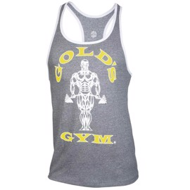 Golds Gym Muscle Joe Contrast Stringer Grey/White