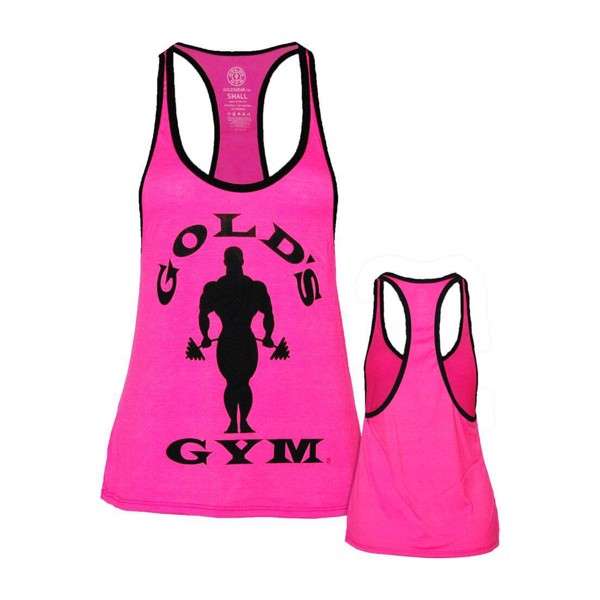 Gold\'s Gym Ladies Silhouette Stringer - Neon Pink/Black