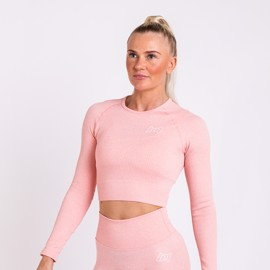 BM Seamless Ribbed Long Sleeve Cropped Top Pink