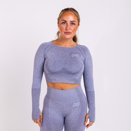 BM Seamless Long Sleeve Cropped Top Blue Grey