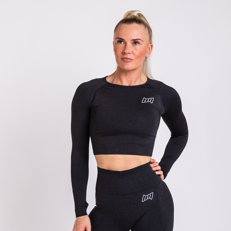 BM Seamless Long Sleeve Cropped Top Dark Grey