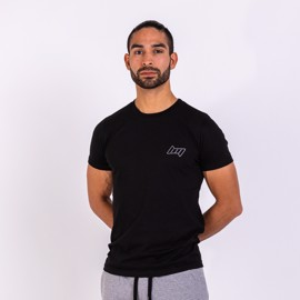 BM Mens Fitted Tee Black Steel Grey