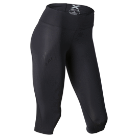 Mid-Rise Compression 3/4 Tight - Black/Dotted Black logo