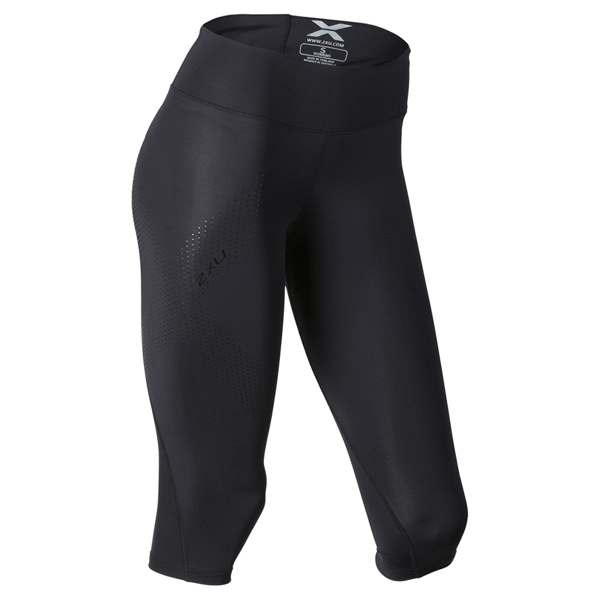 Image of 2XU Mid-Rise Compression 3/4 Tight - Black/Dotted Black logo