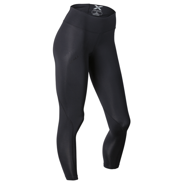 Image of 2XU Mid-Rise Compression Tights - Black/Dotted Black logo
