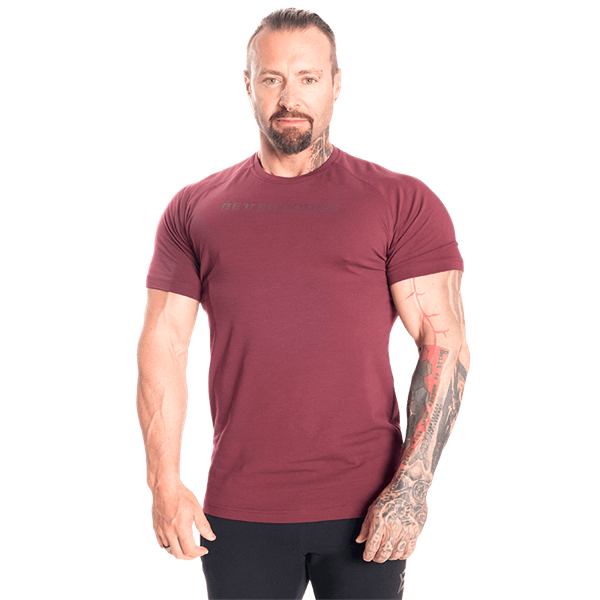 Better Bodies Gym Tapered Tee, Maroon