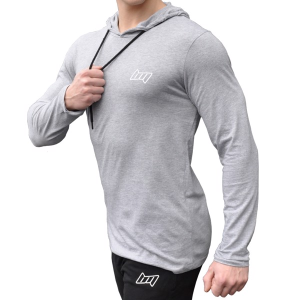 Image of BM Hooded Long Sleeve Oxford Grey