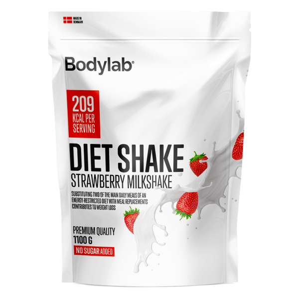 Køb Bodylab Diet Shake Strawberry Milkshake 1100g