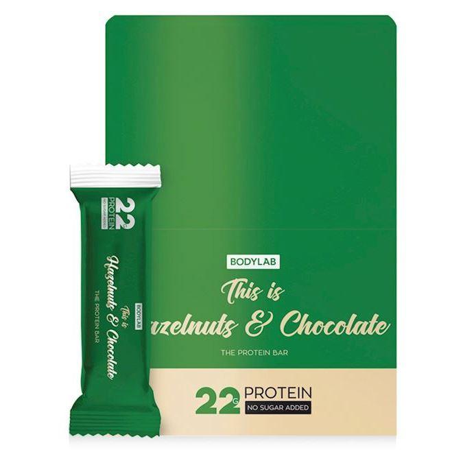 Image of   Bodylab Proteinbar Hazelnuts and Chocolate 12x65g