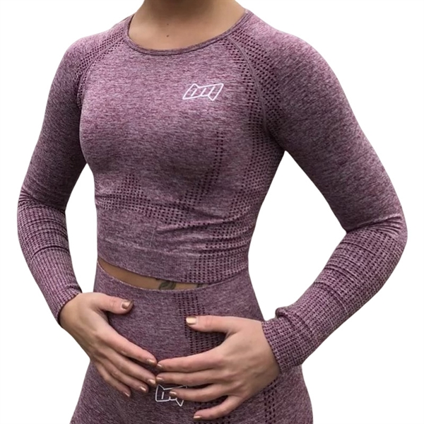 Image of BM Seamless Long Sleeve Cropped Top Wine Red