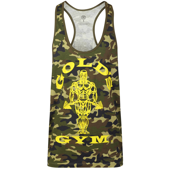 Image of   Golds Gym Muscle Joe Slogan Premium Tank Green Camo
