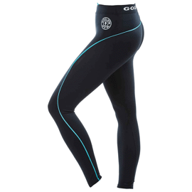 Gold's Gym Ladies Long Tights Pants - Black/Turquoise