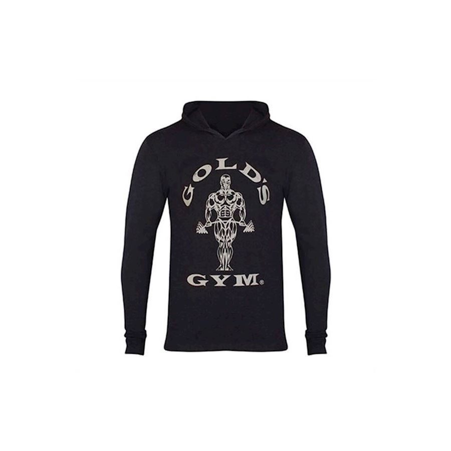 Image of   Golds Gym Long Sleeve Hood Black Marl