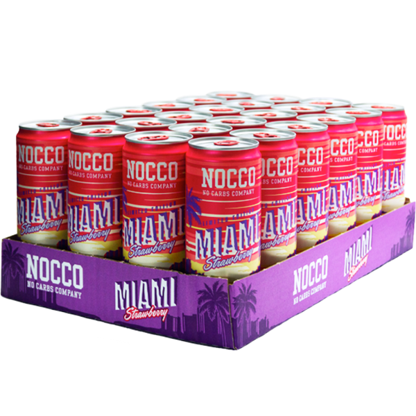 Nocco BCAA Miami Strawberry Limited Edition - 24 stk | proteinbar og -pulver