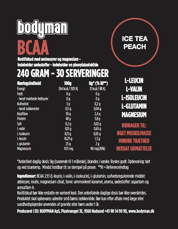 Bodyman BCAA Ice Tee Peach 240 Gram fås hos Bodyman