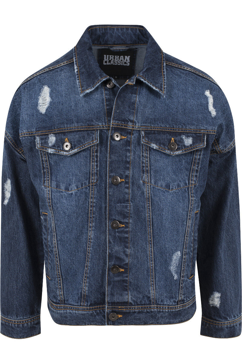 Urban Classics Ripped Denim Jacket Blue Washed