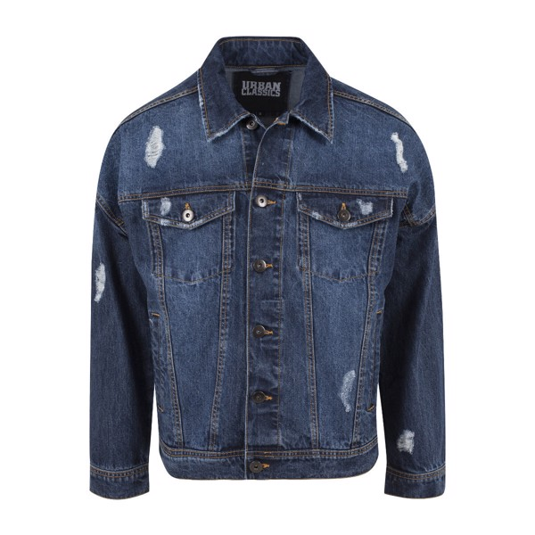 Billede af Urban Classics Ripped Denim Jacket Blue Washed