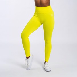 BM Seamless Ribbed High Waist Tights Sunny Yellow
