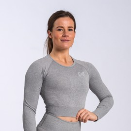 BM Seamless Ribbed Long Sleeve Cropped Top Light Grey