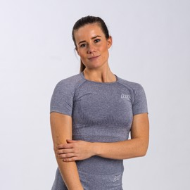 BM Seamless Cropped Tee Blue Grey
