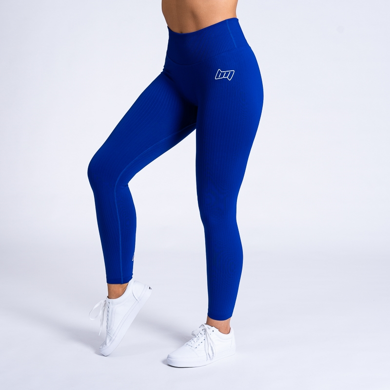 BM Seamless Ribbed High Waist Tights Space Blue